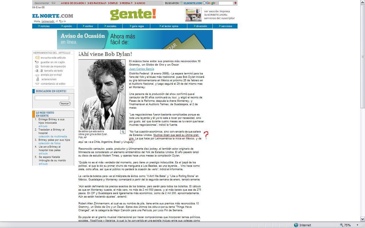 Bob Dylan - Expecting Rain - Archives 2008